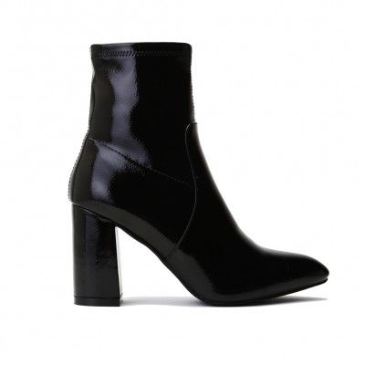 9640bb284b9 Raya Pointed Toe Ankle Boots in Black Patent | Shoes | Boots, Shoes ...