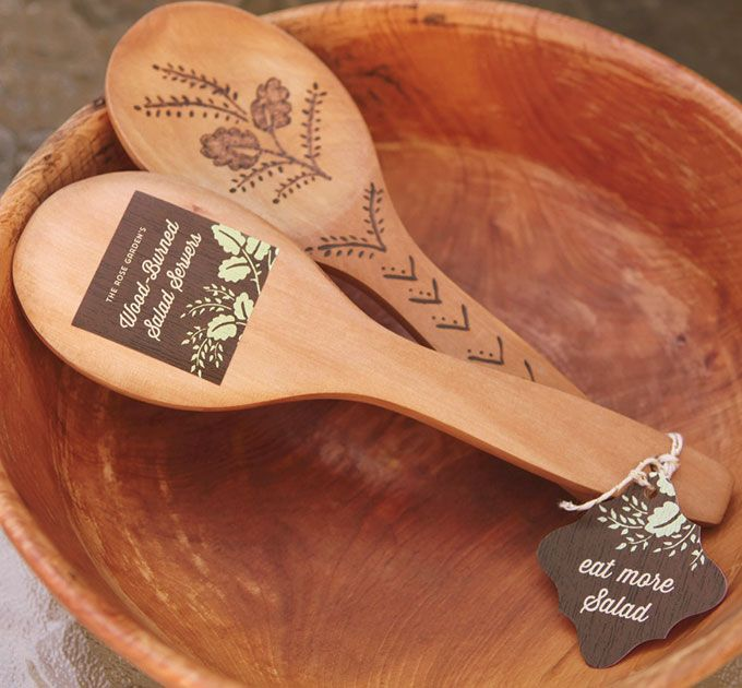 DIY Wood-Burned Salad Servers with personalized Woodland Bliss favor tags and labels from Evermine {www.evermine.com}