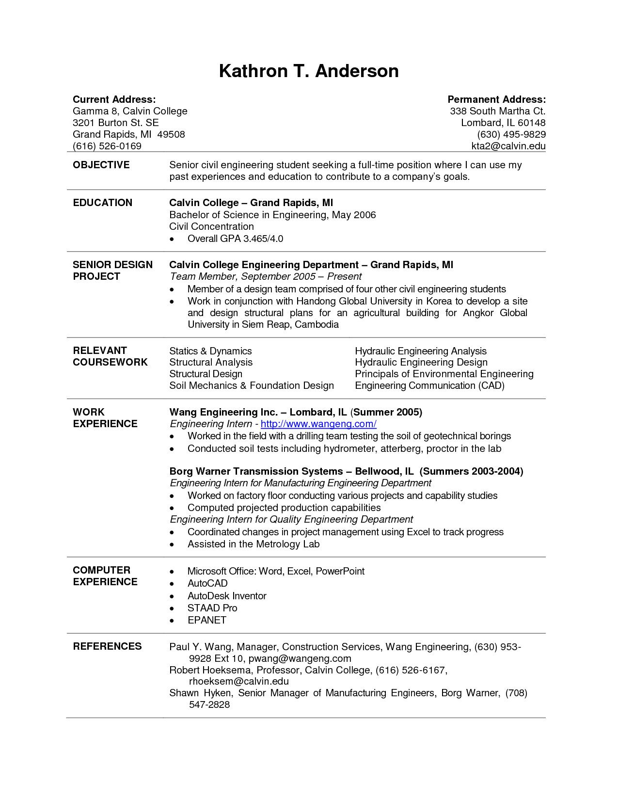 College Resume Examples For Internships