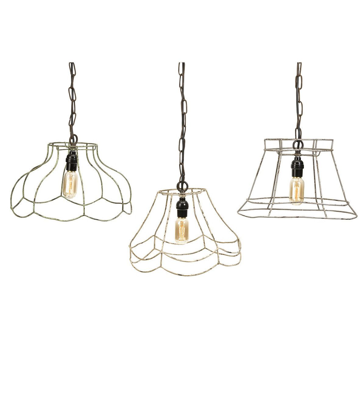 Modern rustic industrial wire frame pendants lights master bedroom