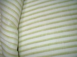 green and white striped 100% linen