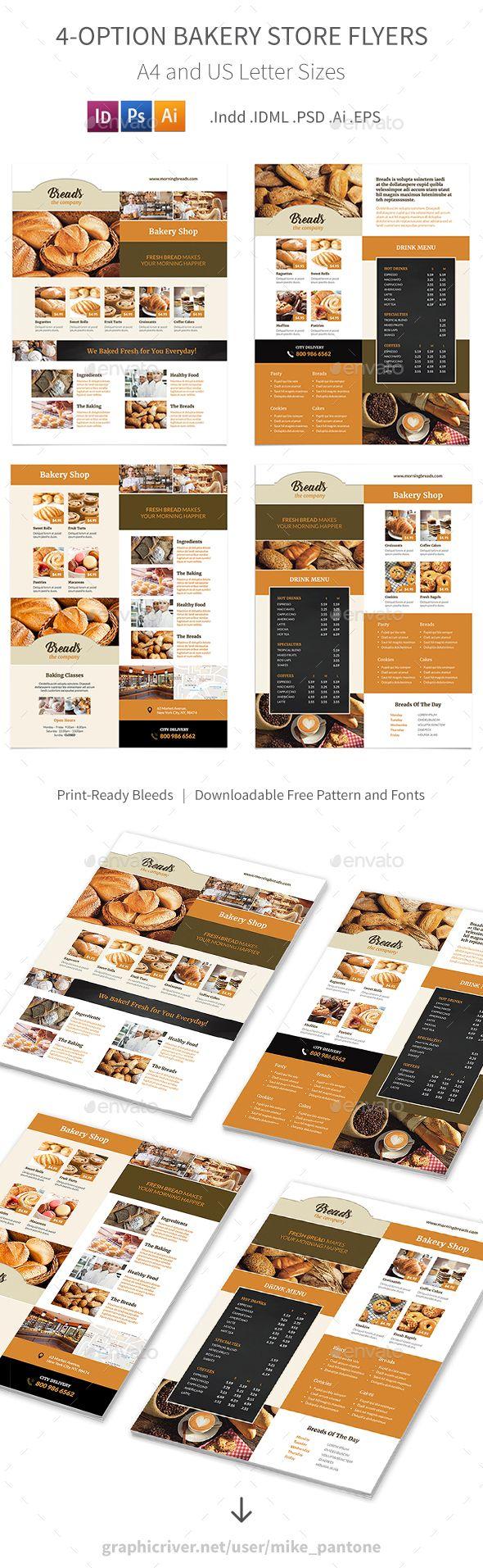 Bakery Store Flyers u2013 4 Options