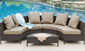groupon venice outdoor wicker sofa sectional set 5 piece rh pinterest com