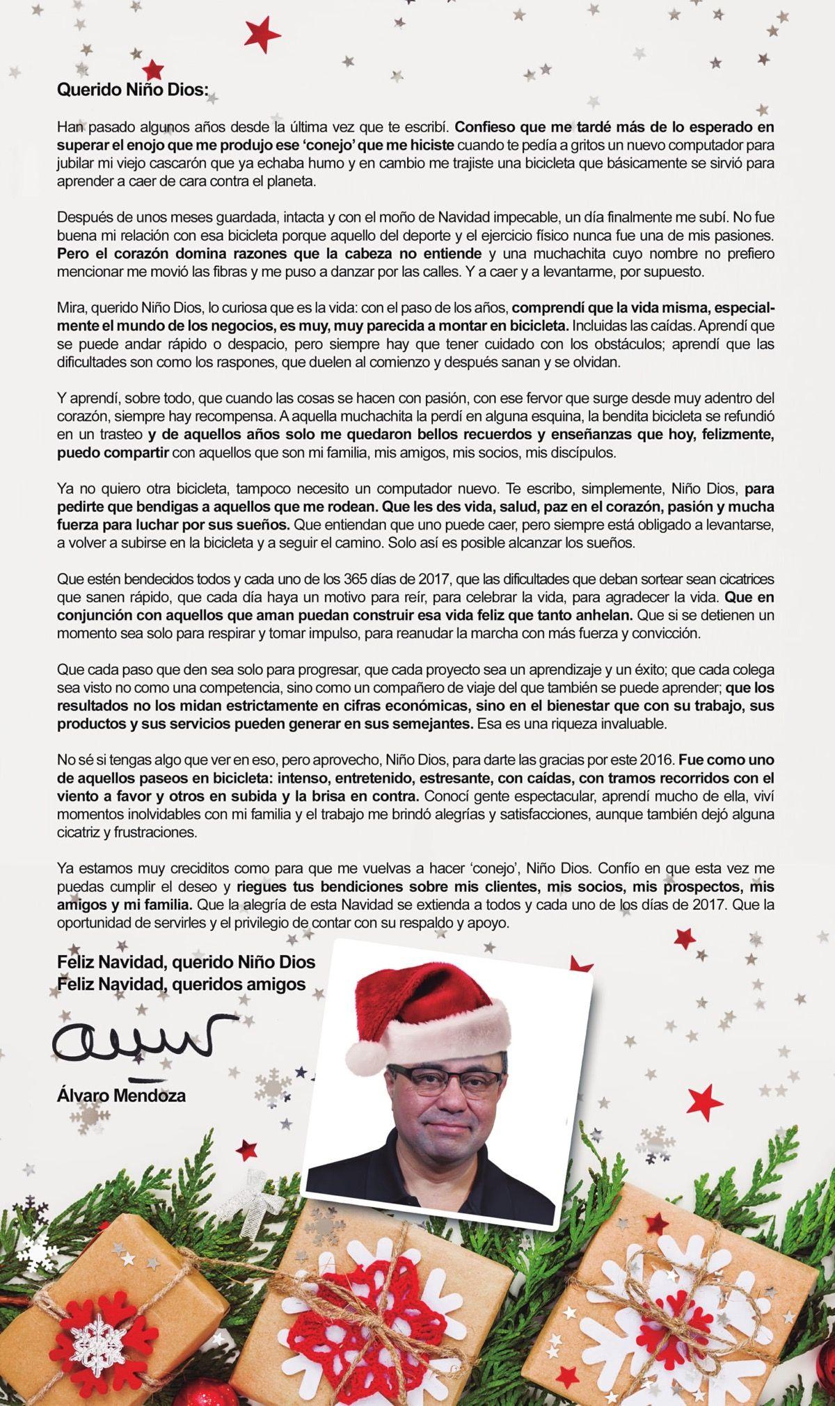 Carta al Niño Dios - Feliz Navidad 2016 - Alvaro Mendoza ...