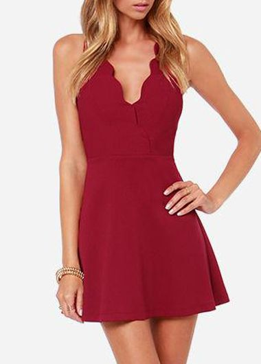 Zipper Closure Sleeveless V Neck Dress