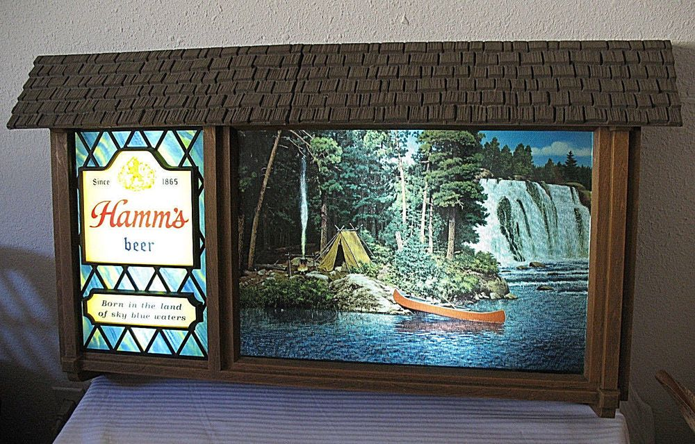 Hamms Beer Scene O Rama Motion Vintage Bar Sign Light Waterfall ...