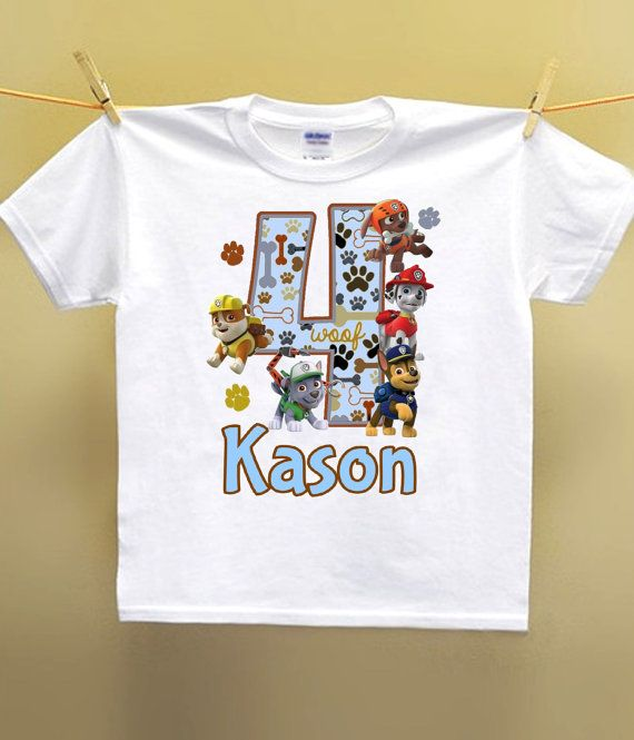 2c1677601 Paw Patrol Birthday Shirt Personalized With Name and Age on a ...