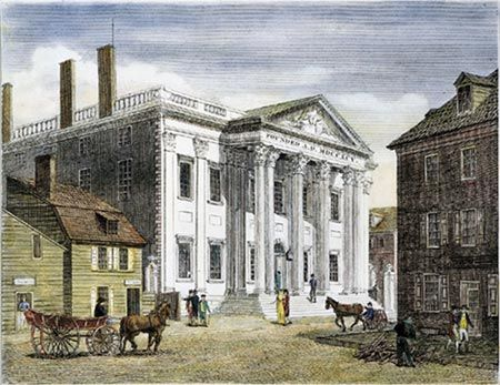 The First Bank of the United States was originally created due to the debt created from the Revolutionary War by Alexander Hamilton.  It was built in Philadelphia, but each state had a different form of currency.  In 1811, Congress voted to abandon the bank and its charter.