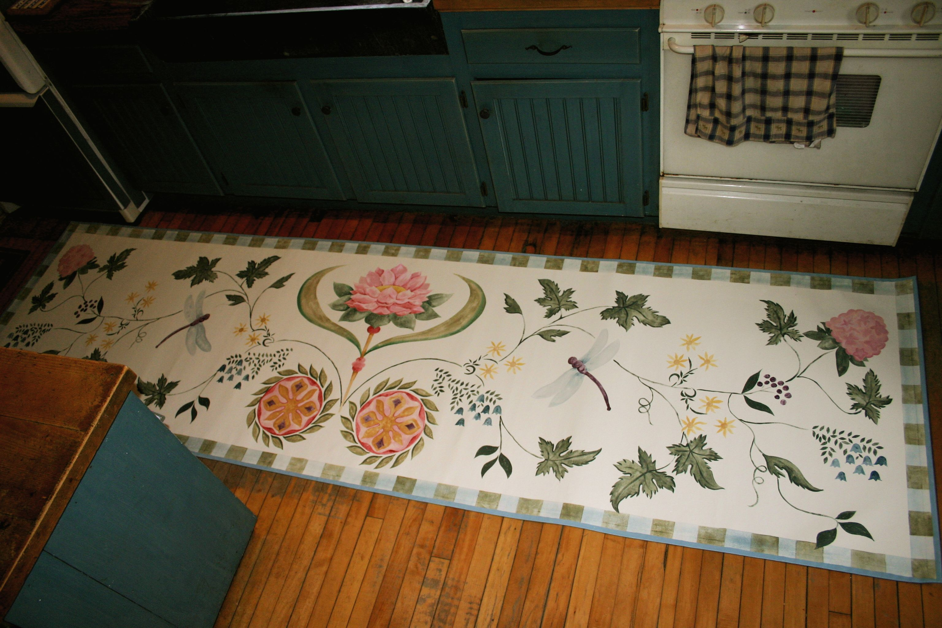 Flowers and Dragonflies floorcloth runner is 9ft X 9ft by Lisa ...