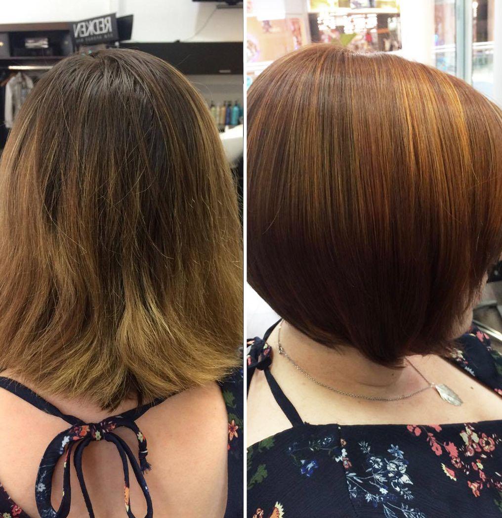 vorher-nachher, Bob Haarschnitt, Haarfarbe braun , Friseursalon in ...