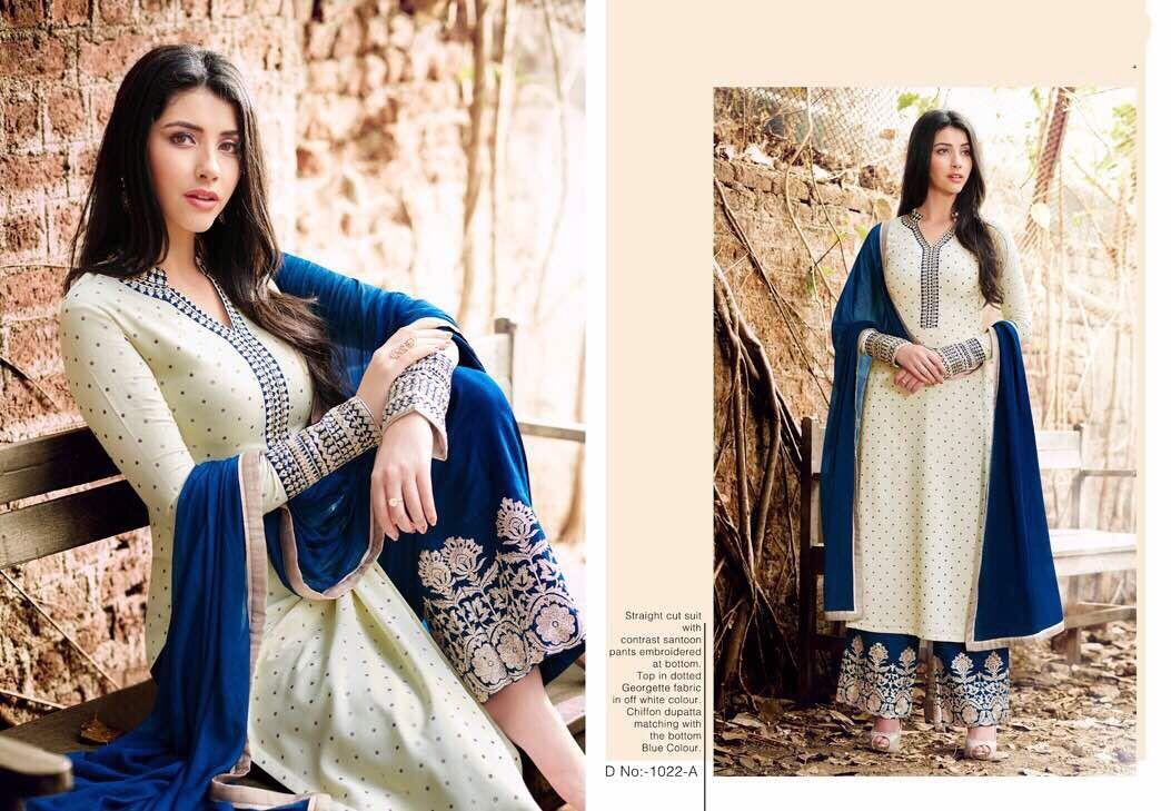 c27d9b9668 Designer suit world present naira super hit design Price - ₹1700/- (INR)  Fabric Details :- Top :- Georgette With Imported Dot's Finish Bottom:-  Santoon ...