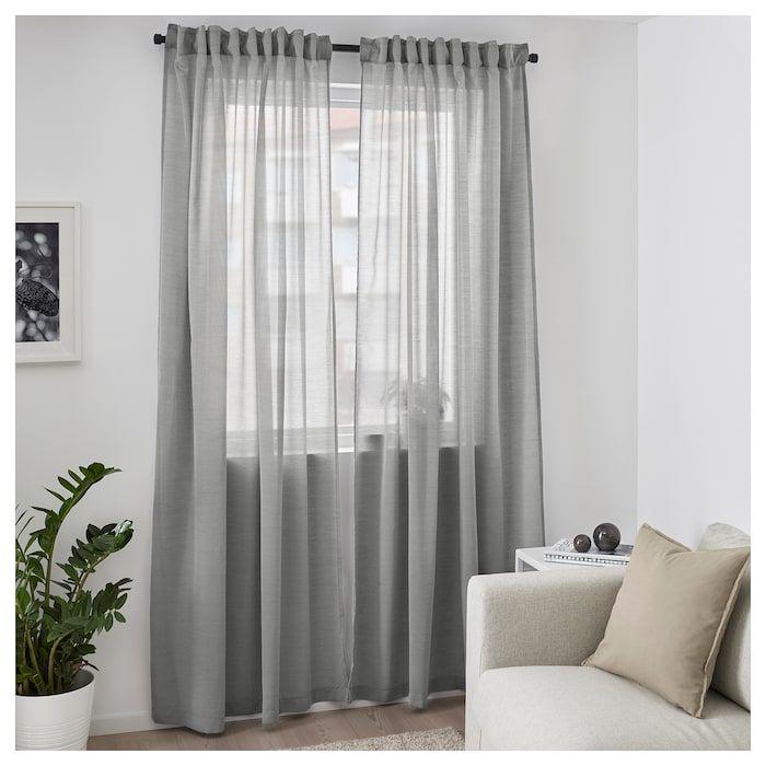 "hilja curtains 1 pair  gray 57x98 ½ ""  living room"
