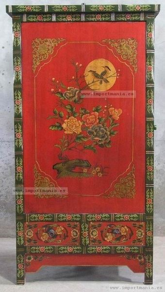 Armario chino decorado oriental pinteres for Muebles orientales antiguos