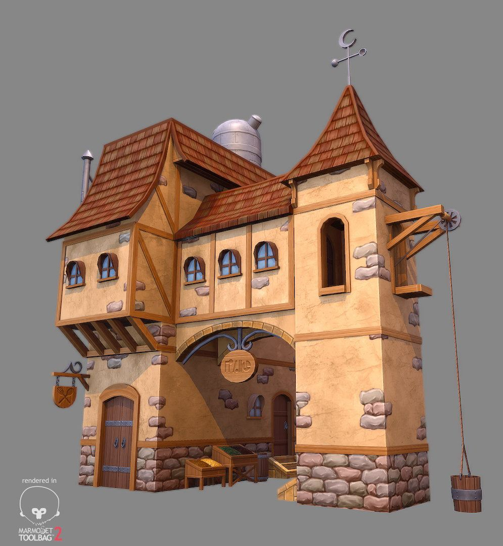 Artstation low poly stylized fantasy house 1 gerald for Medieval house design