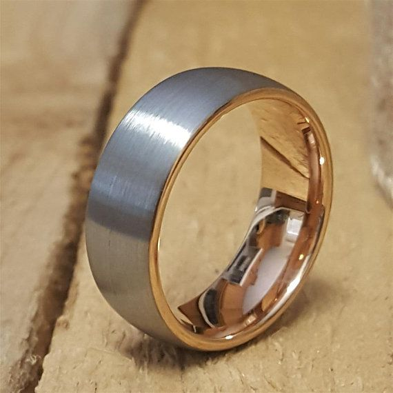6MM, 8MM Blue IP Titanium Etched Design Dome Engraved Ring Size 4 to 13