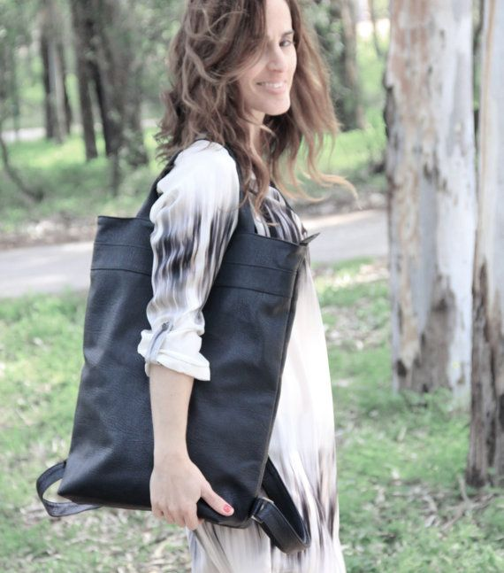 3736e03708c6 faux leather backpack   women black Backpack   laptop backpack   everyday  carry bag   convertible bag