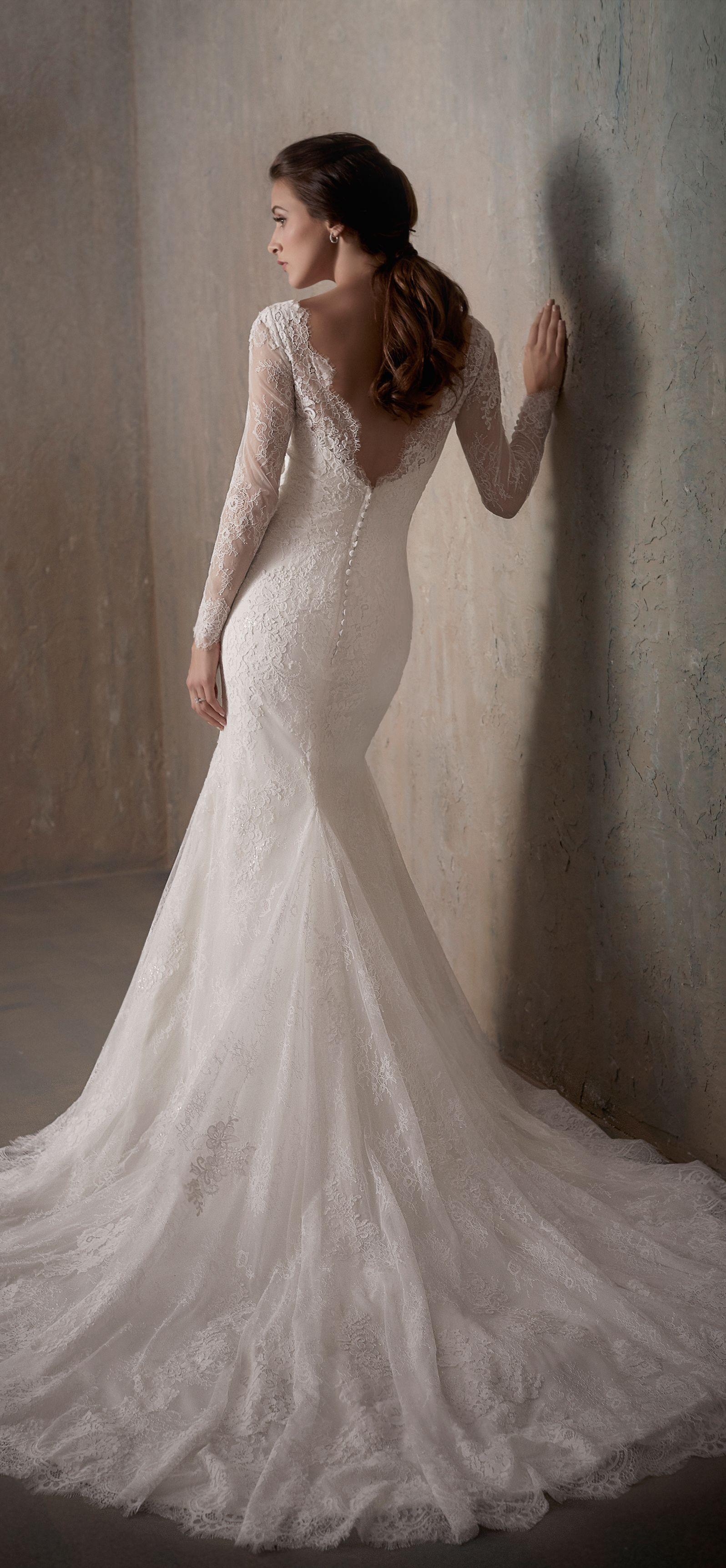 Backless long sleeve chantilly lace wedding dress with illusion