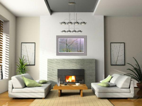 Kamin Wohnzimmer Graue Wandgestaltung Kronleuchter   Wohnzimmer Streichen U0026  106 Inspirierende Ideen