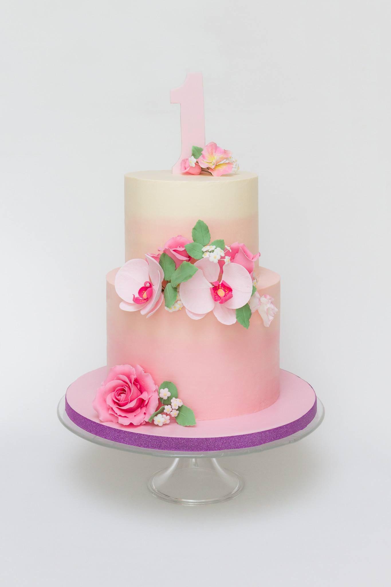 pastel pink buttercream birthday cake gumpaste orchid sugar