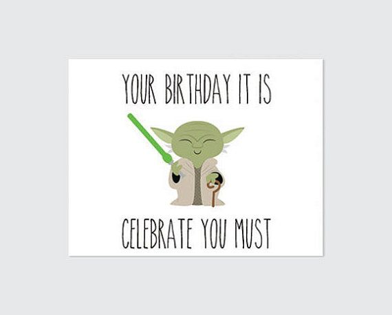 Star Wars Birthday Card Printable Yoda by RememberNovemberShop – Star Wars Birthday Card