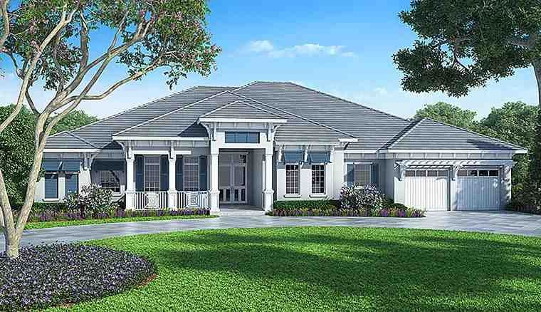 Florida Style House Plan with 4 Bed 5 Bath 2 Car Garage