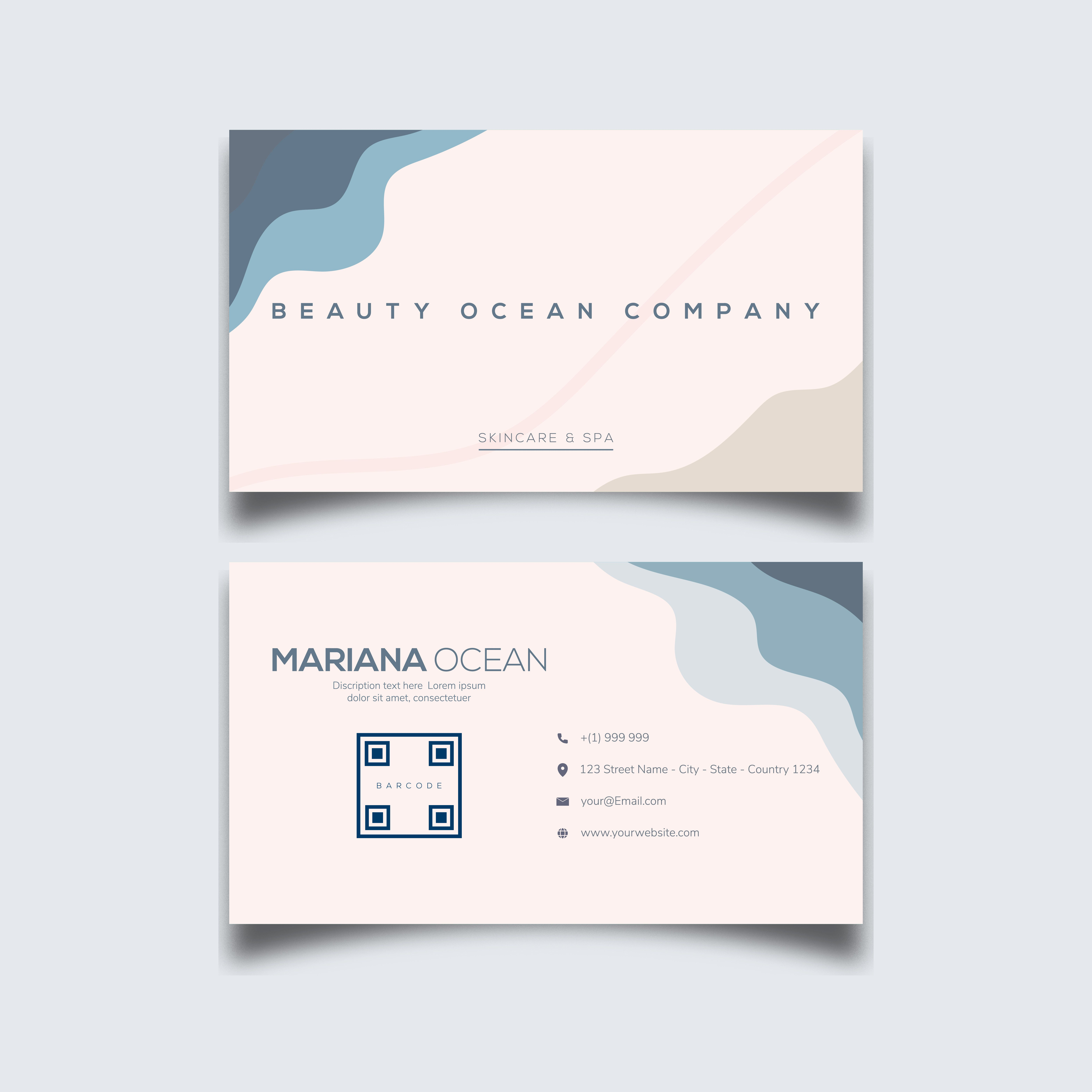 Beauty Simple blue ocean Minimalist Business cardTemplate vector in 2020 |  Fashion business cards, Business cards beauty, Business card design