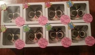 """Cupcakes for the kids at daycare since Miranda is leaving.  """"owl"""" miss you!"""