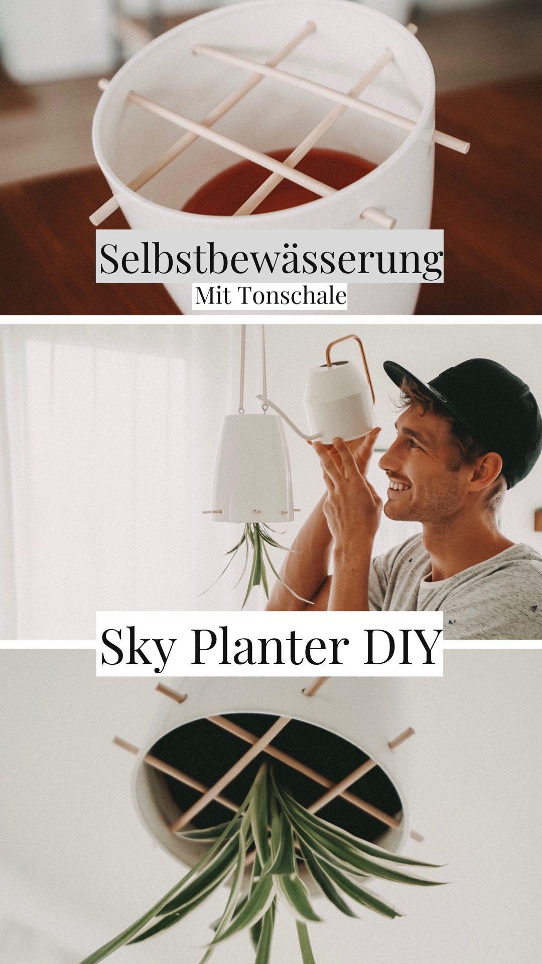 DIY Upside Down Sky Planter selber bauen, Blumenampel, Hängepflanze