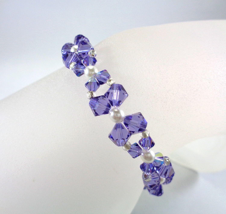 Bracelet en perles de cristal Swarovski de couleur violette et ...