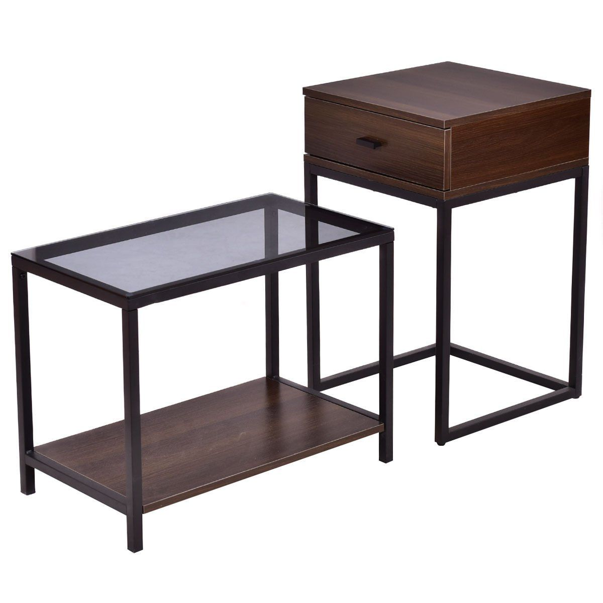 Tangkula Nesting Table Set Of 2 Home Glass Top Metal Frame Sofa Side End Coffee Table Accent Table You Coffee Table Coffee Table Metal Frame Side Table Wood [ 1200 x 1200 Pixel ]
