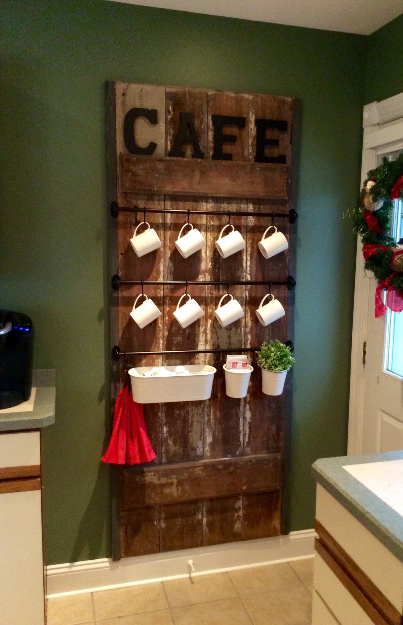 Old Barn Door Coffee Station Door Number Two I Bought This Door From One Of My Picking Pals Dale Swagler For Barn Door Decor Old Door Decor Doors Repurposed