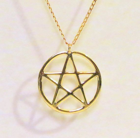 Golden Pentacle Pendant Golden Pentacle Necklace Wiccan Pentacle Pagan Jewelry