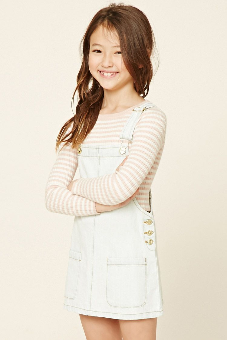 Forever girls a denim overall dress featuring two front patch