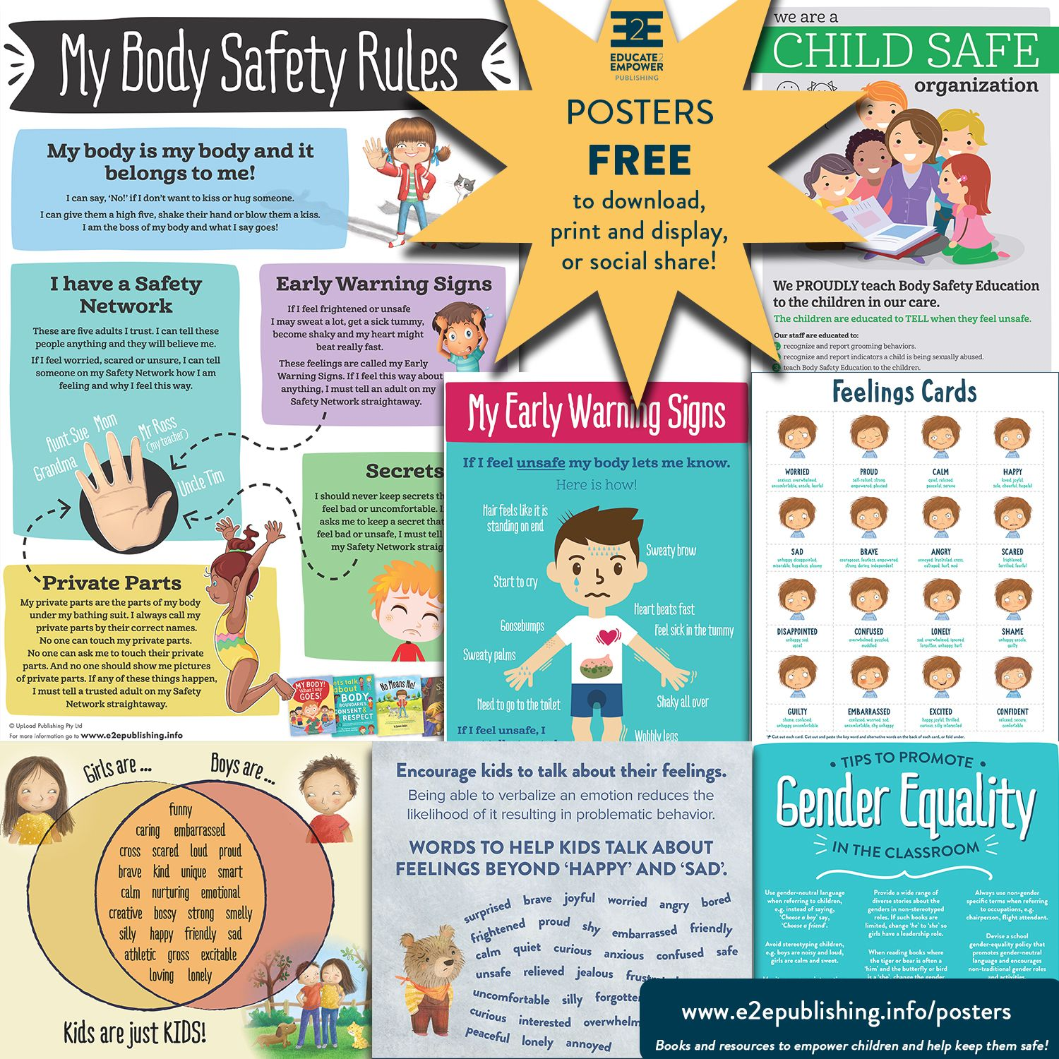 Posters to help you teach Body Safety, Gender Equality
