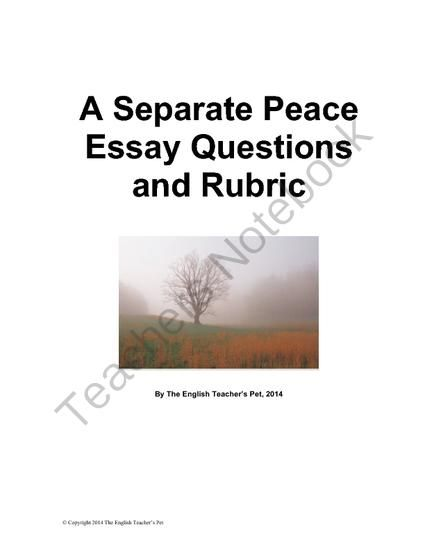 A Separate Peace Essay Questions And Rubric From The English  A Separate Peace Essay Questions And Rubric From The English Teachers Pet  On Teachersnotebookcom   Pages  This Set Of Seven Essay Questions And  A Six