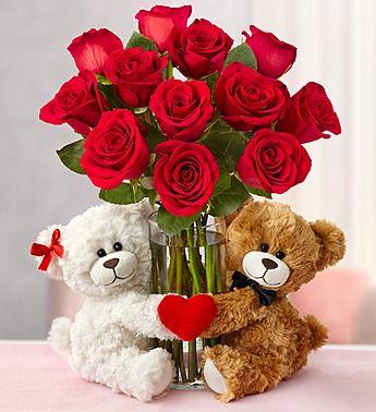 Valentine S Day Roses With Sweetheart Bears Valentine Flower Arrangements Valentines Flowers Basket Flower Arrangements