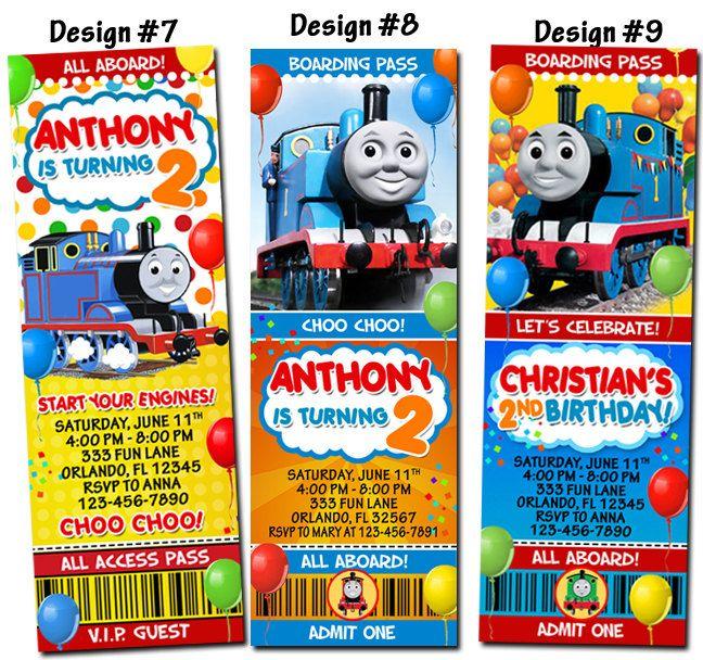 Thomas The Train And Friends Birthday Party Photo Ticket Invitations