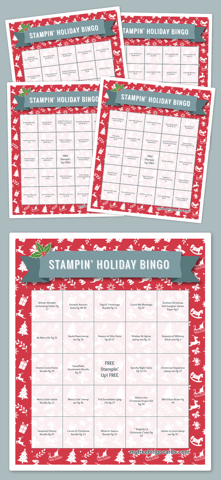 picture about Holiday Bingo Printable titled Stampin Getaway BINGO 2017 Family vacation Catalog (30 totally free playing cards