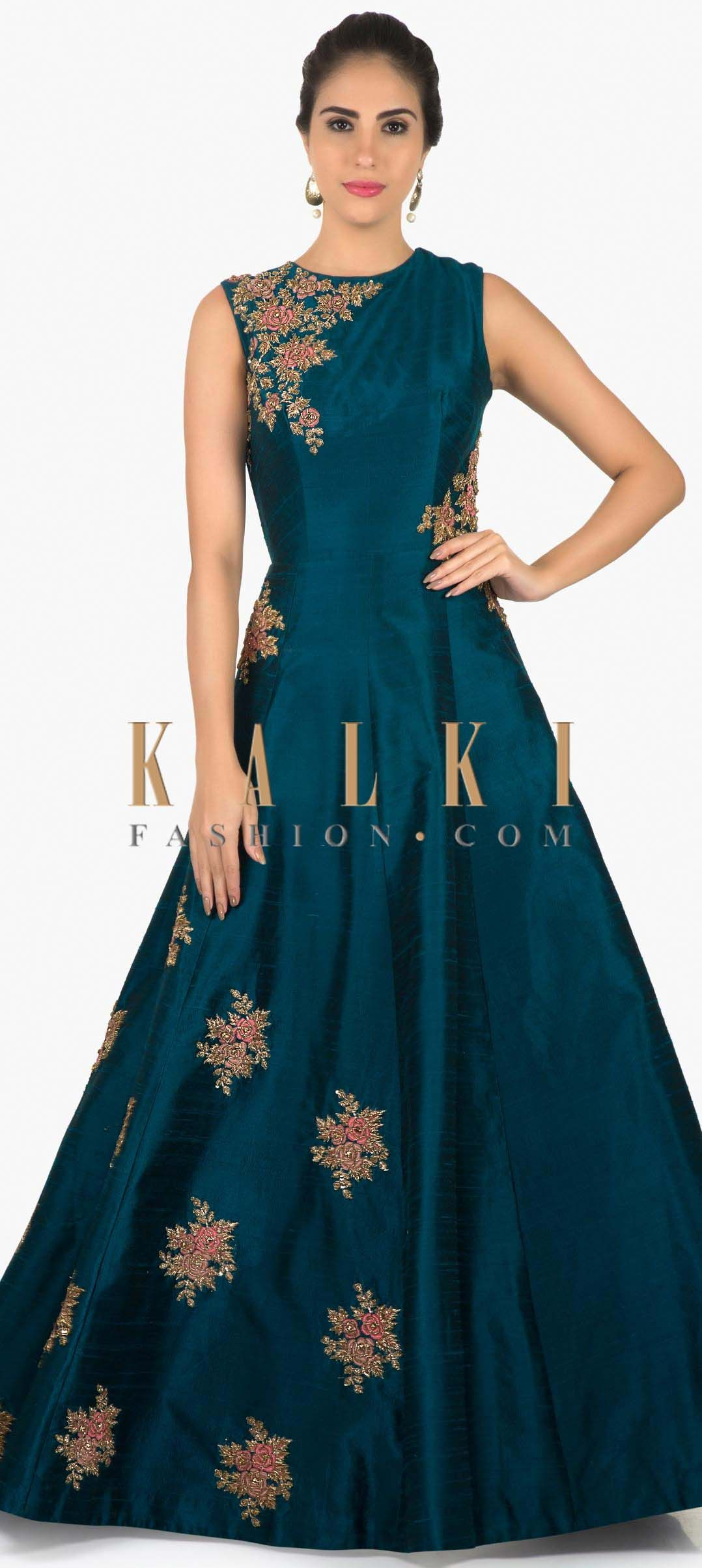 Teal blue raw silk gown with zardosi resham butti only on Kalki ...