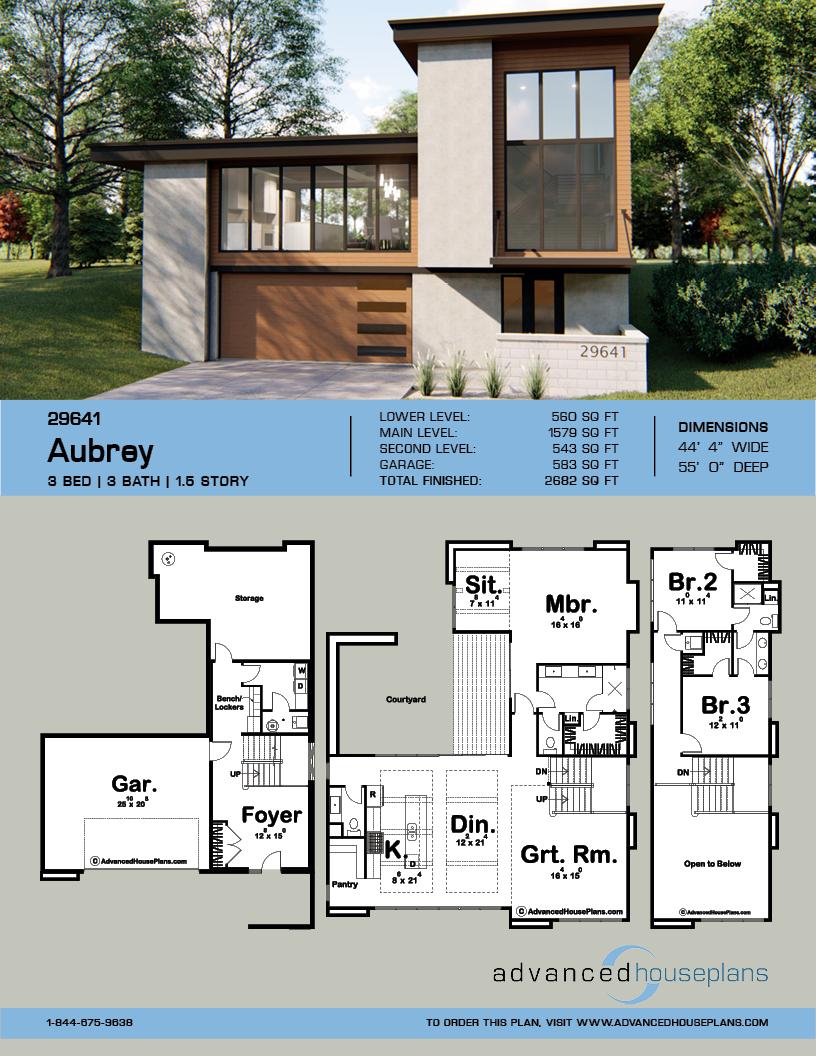 1 5 Story Modern House Plan Aubrey Modern Style House Plans Modern House Plan House Plans