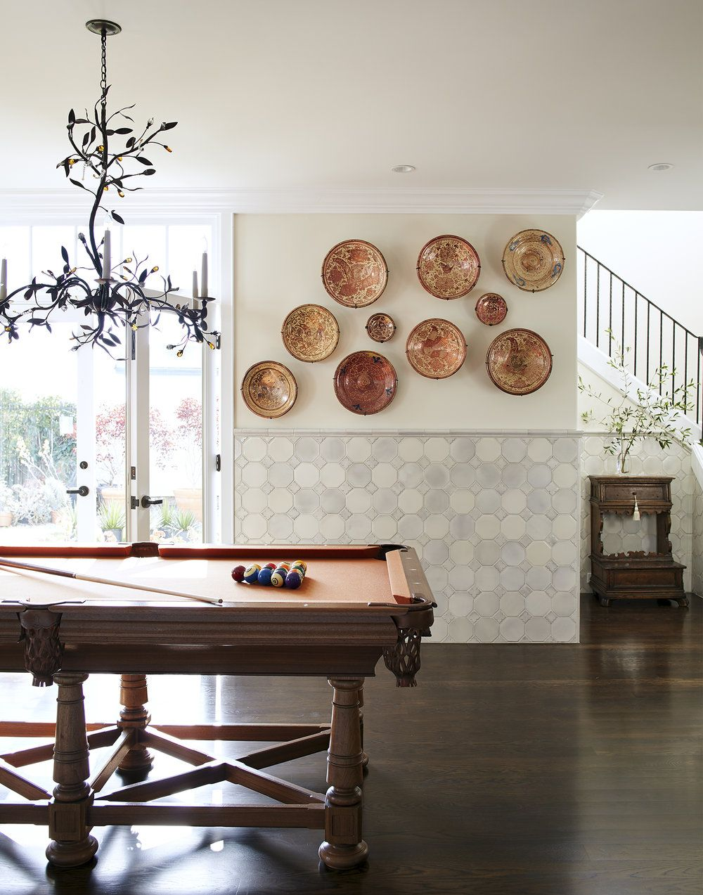 Plates billiard room by amy meier with beautiful tiled wall and dark wood floors also perfect ts for the hostess mostess lake house rh pinterest