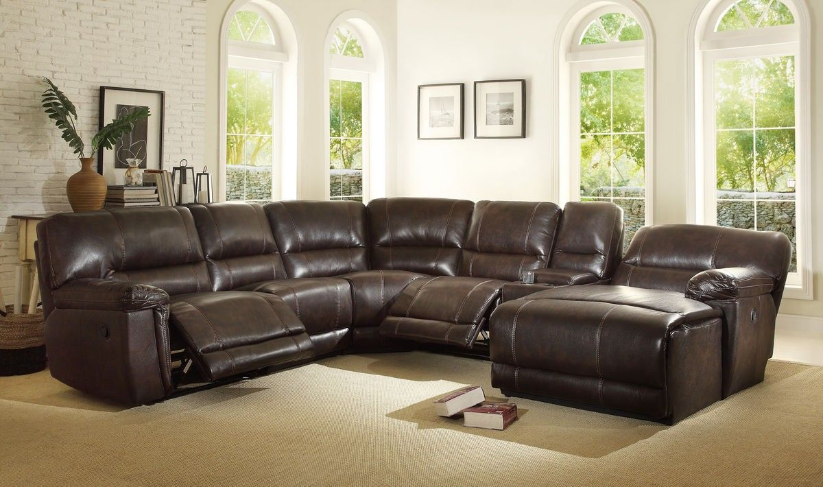 9606ah Blythe Brown Leather Match Reclining Sectional Sofa Set Chaise