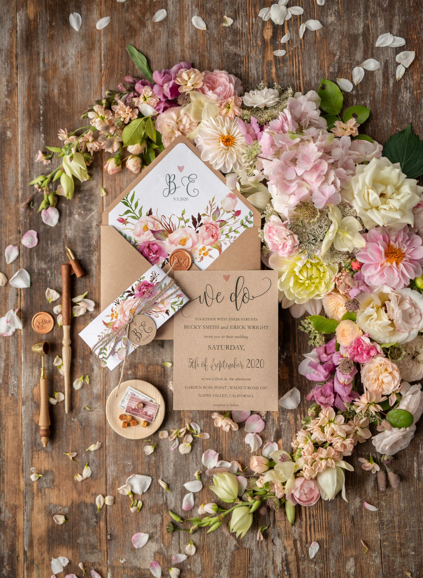 Personalised invitations shabby chic wcgz in wedding