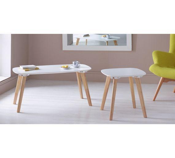 buy home dahlia end table - white & oak effect at argos.co.uk