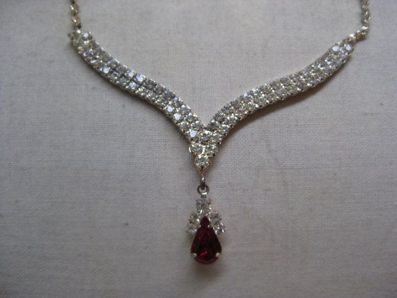 Red Teardrop Rhinestone Clear Necklace by vintagejewelryalcove, $17.50