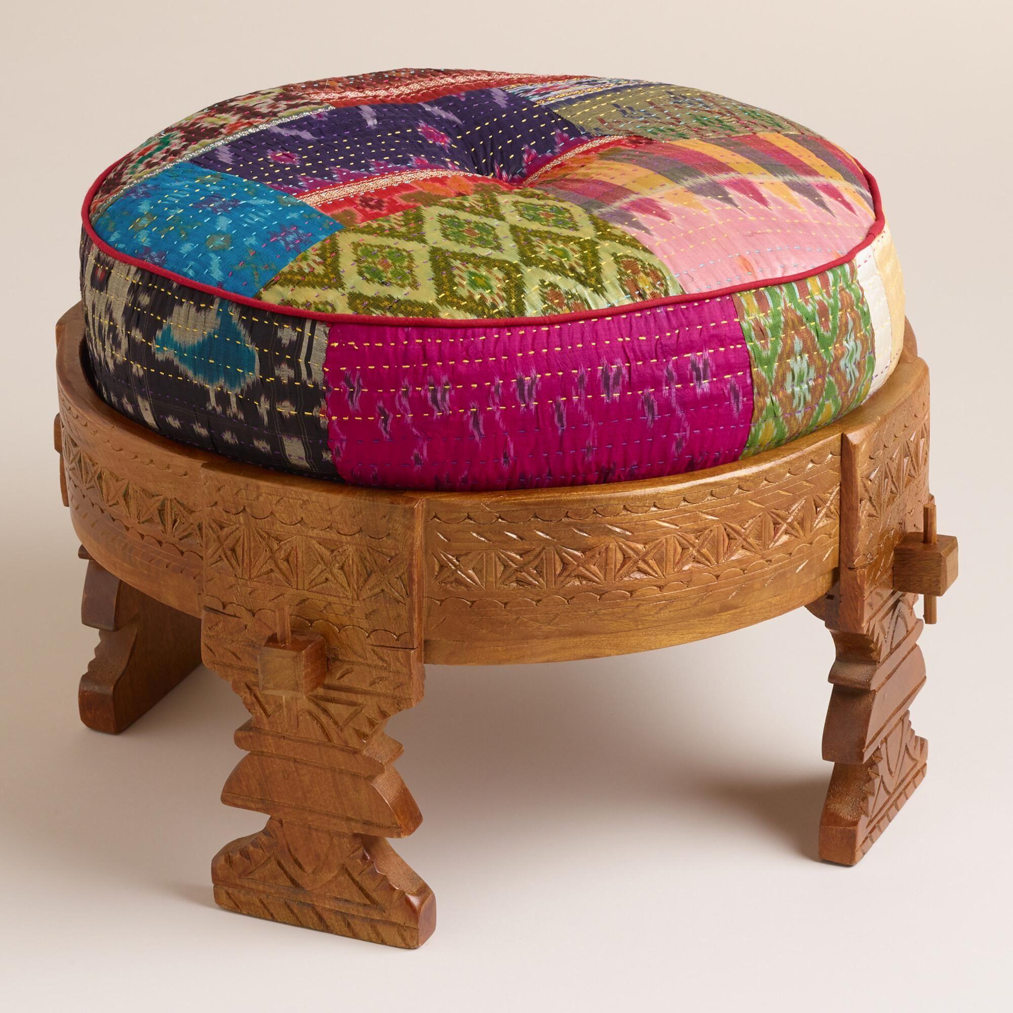Bajot Stool With Sari Pouf World Market Wooden Stools