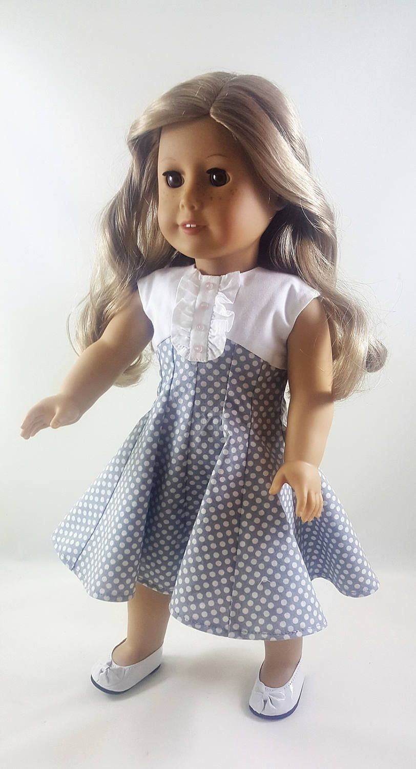 Grey and White Polka Dot Dress made to fit 18 inch dolls
