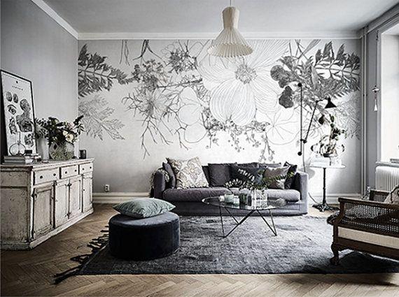 Mur De Papier Peint Floral Blanc Fonce Nature Morte Fleurs