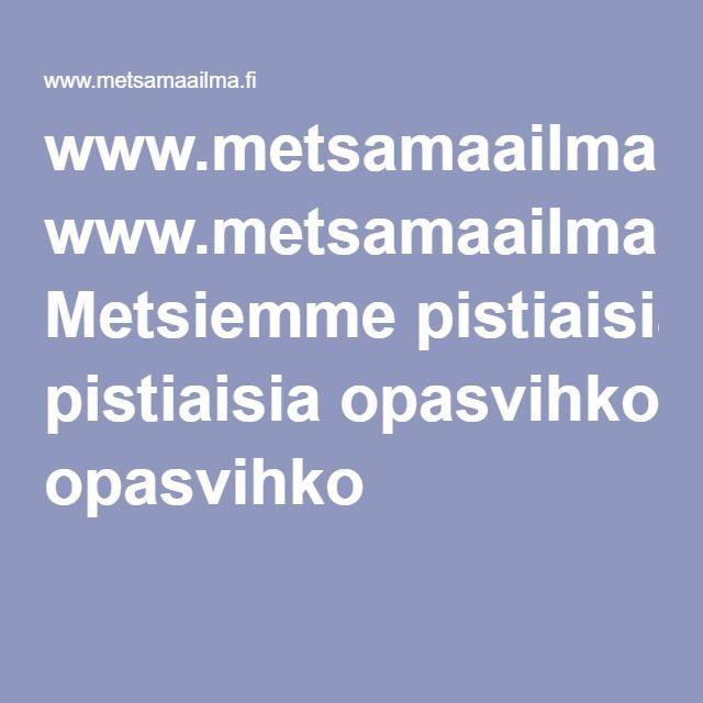www.metsamaailma.fi Metsiemme pistiaisia opasvihko