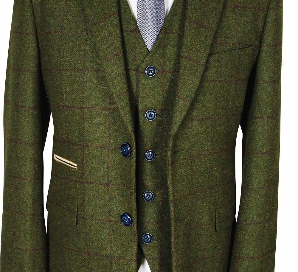 Men s Designer Suits Wool Herringbone Tweed Olive Green Wine Check 3 Piece  Suit Tailored Tuxedo Wedding Slim Fit Suits 4d0429491de9